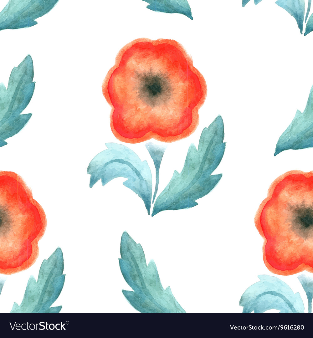 Seamless pattern red vintage flower watercolor