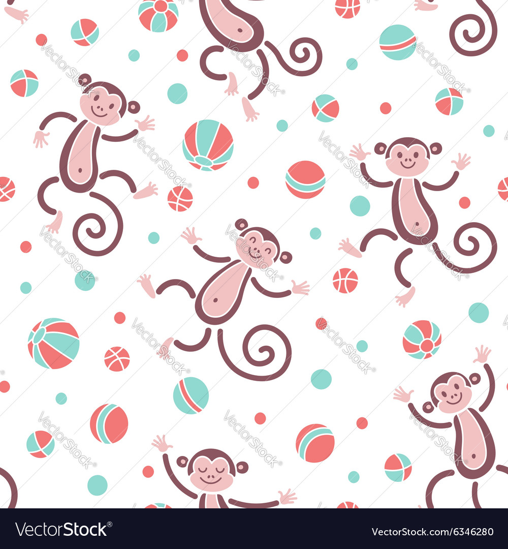 Seamless pattern with monkeys playing in balls