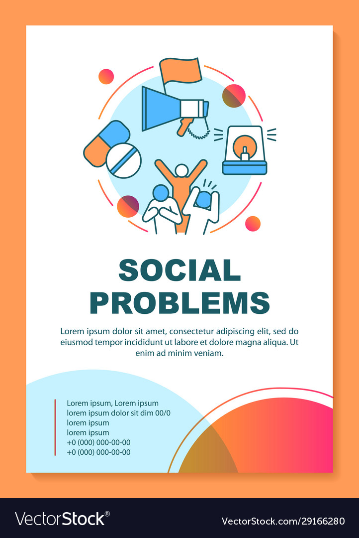 Social Problems Issues Poster Template Layout Vector Image