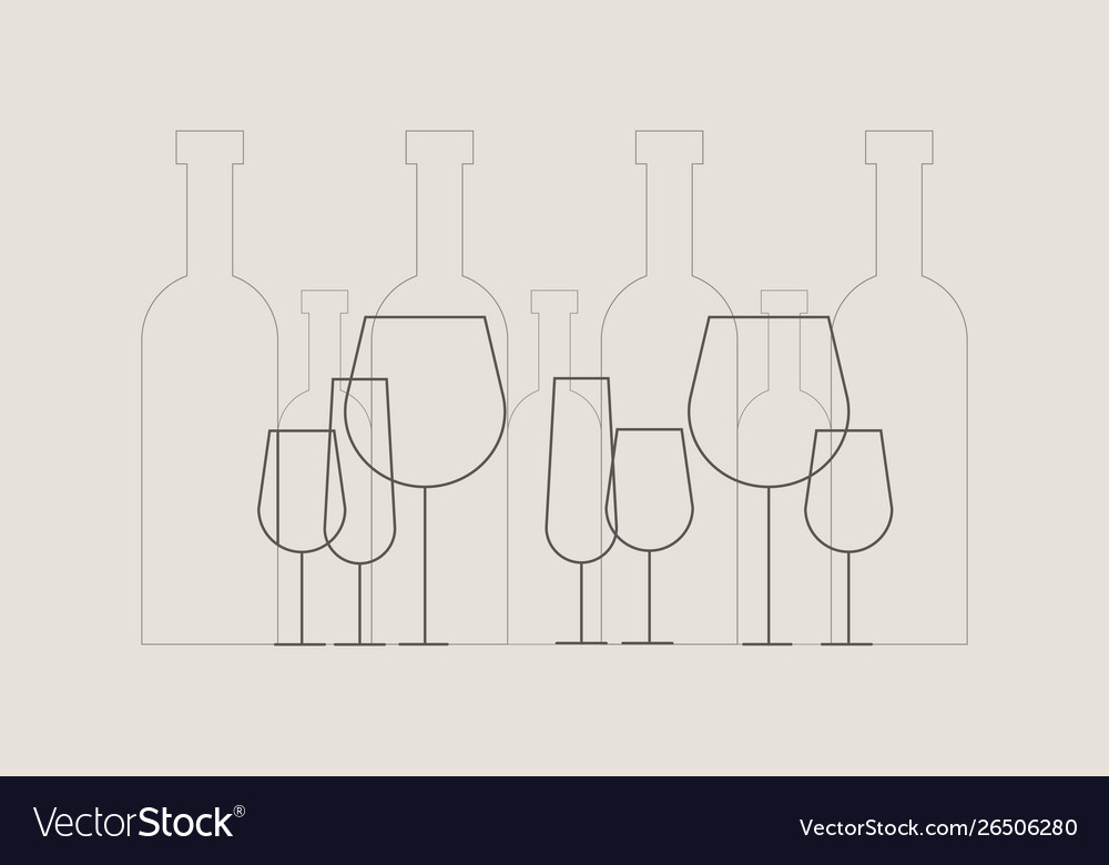 Wine bottles and wine glasses in