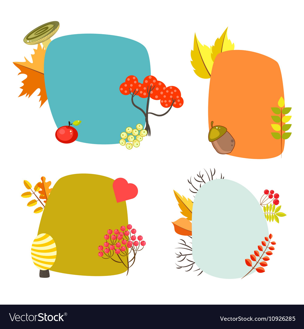 Autumn card templates with foliage decorative