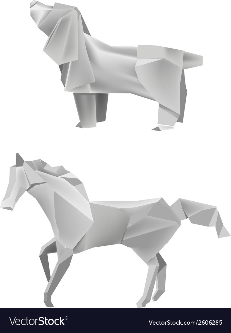 Dog Horse Origami Royalty Free Vector Image Vectorstock