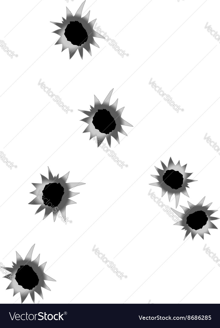 Set of bullet holes isolated on white background vector image