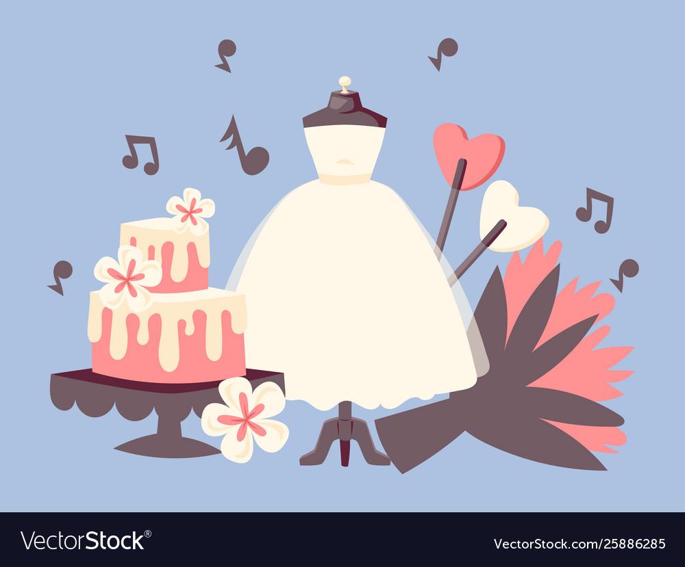 Wedding day invitation set with wedding cake