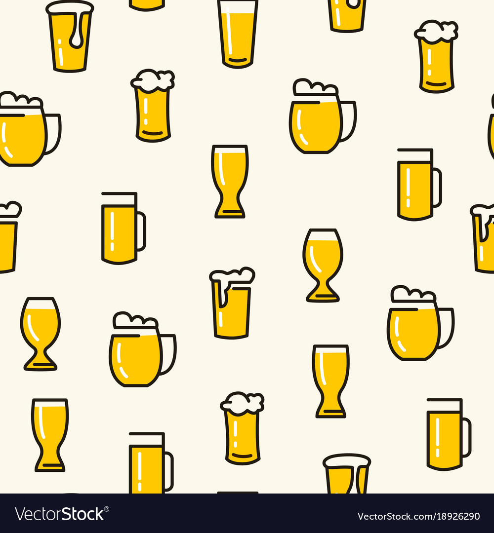 Beer glasses seamless pattern