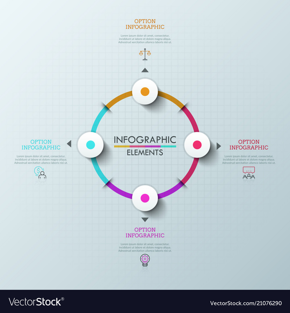 Circular chart with 4 round colorful elements vector image