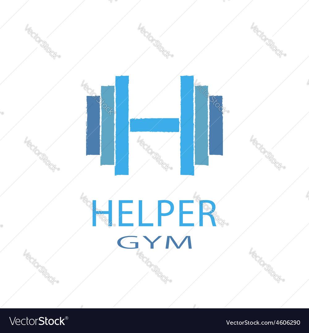 Dumbbell idea H letter logo of gym fitness blue