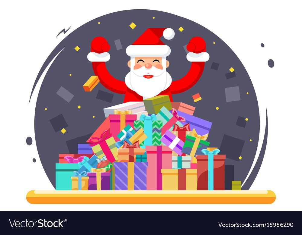 Happy santa claus shopping pile goods christmas