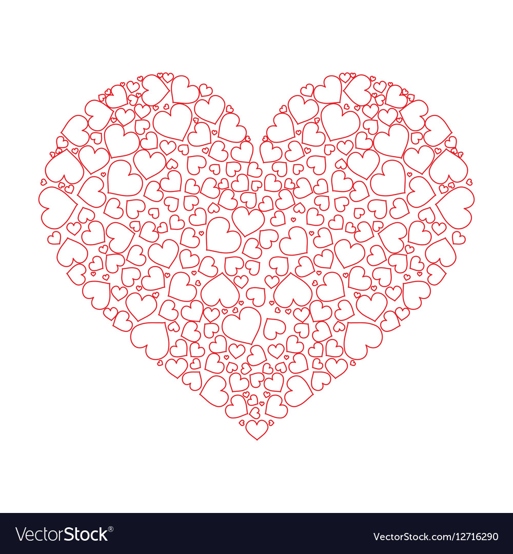 Large Heart With Many Small Hearts Inside Vector Image