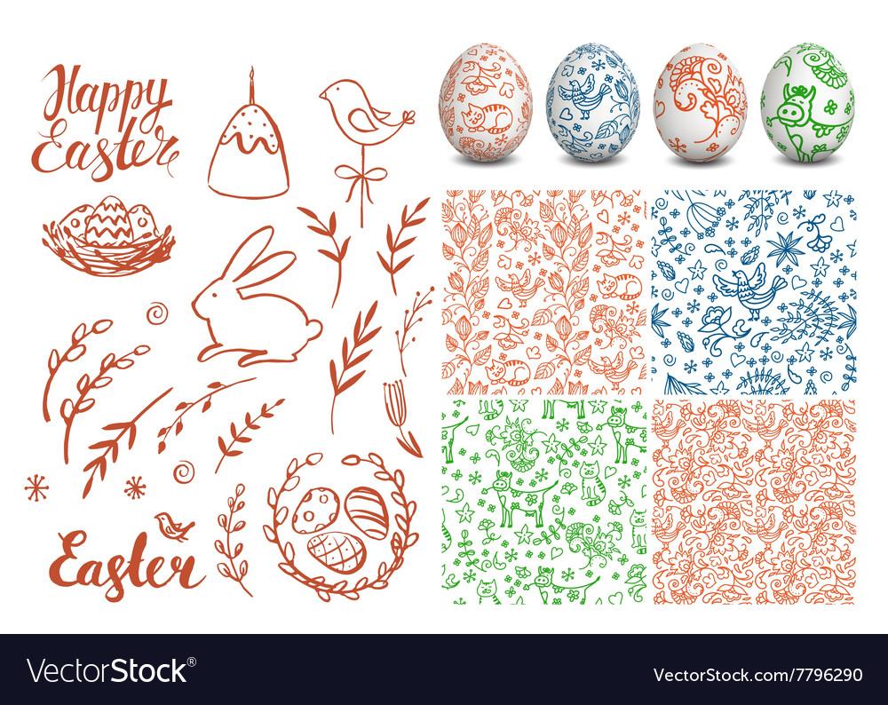 Set of Easter hand drawn elements folk seamless