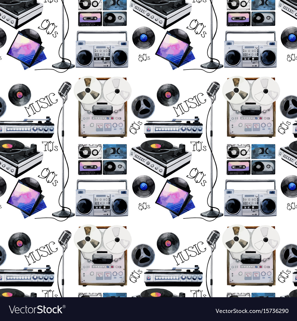 Watercolor musical devices pattern vector image