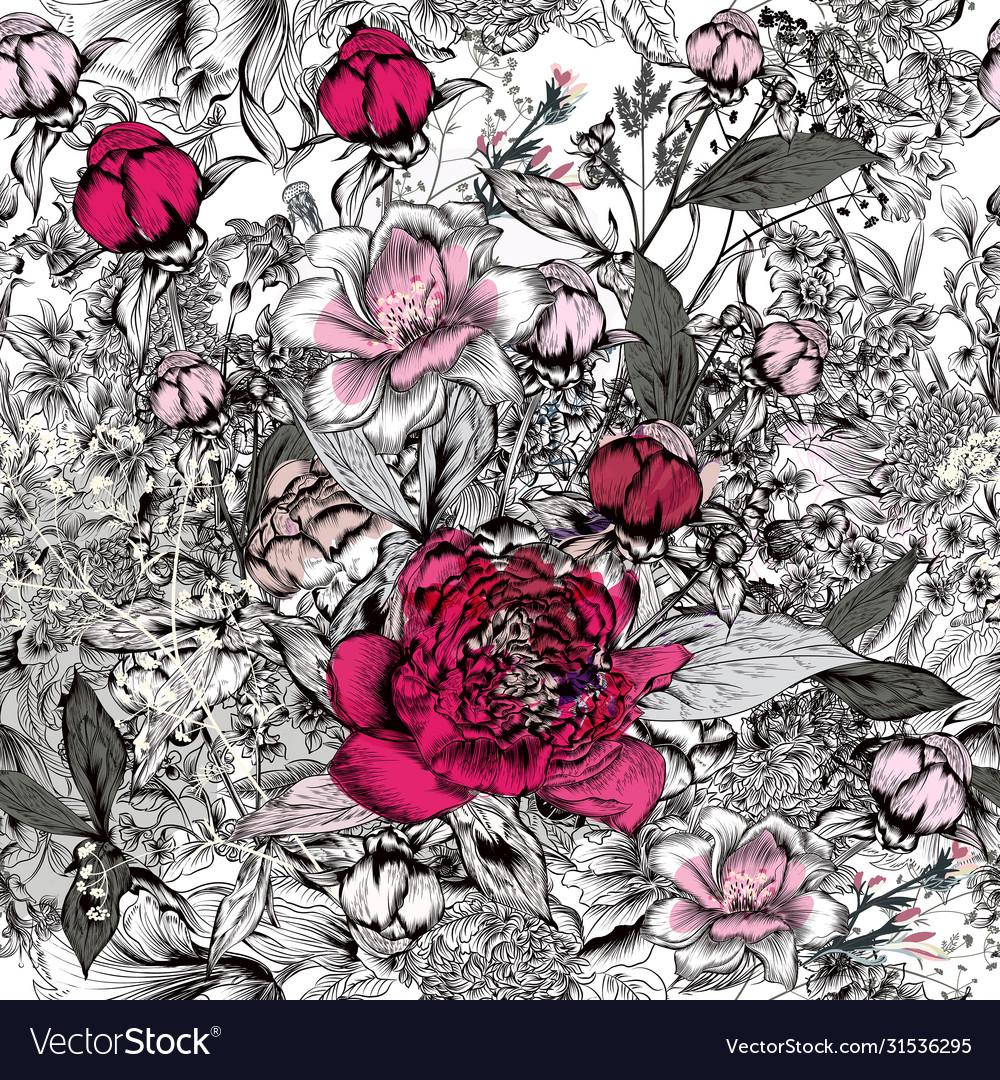 Beautiful elegant pattern with hand drawn peony