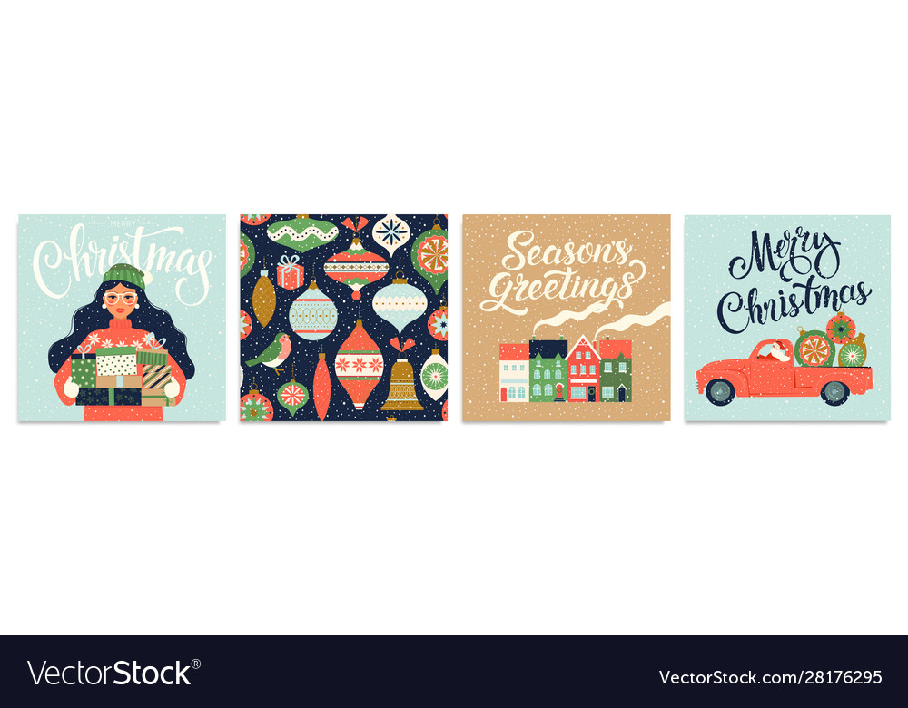 Christmas and new year s template set for greeting