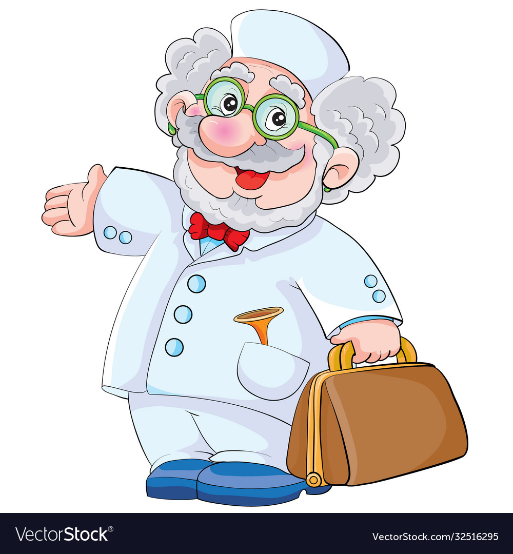 Cute doctor character with big bag cartoon