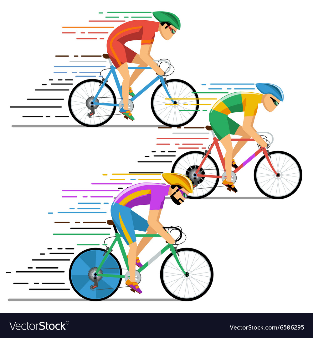 Cyclists in bicycle racing characters flat