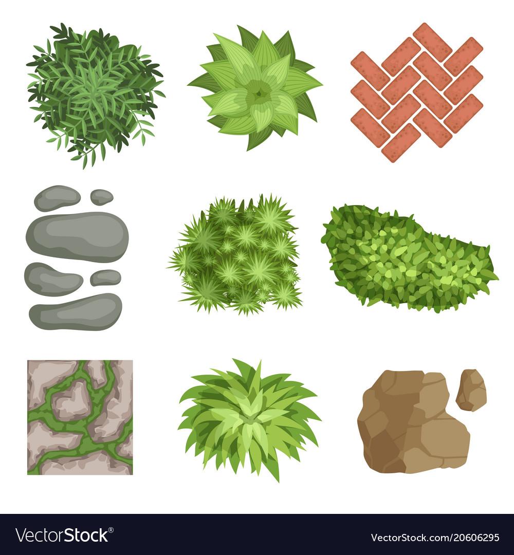 Flat set of landscape elements green