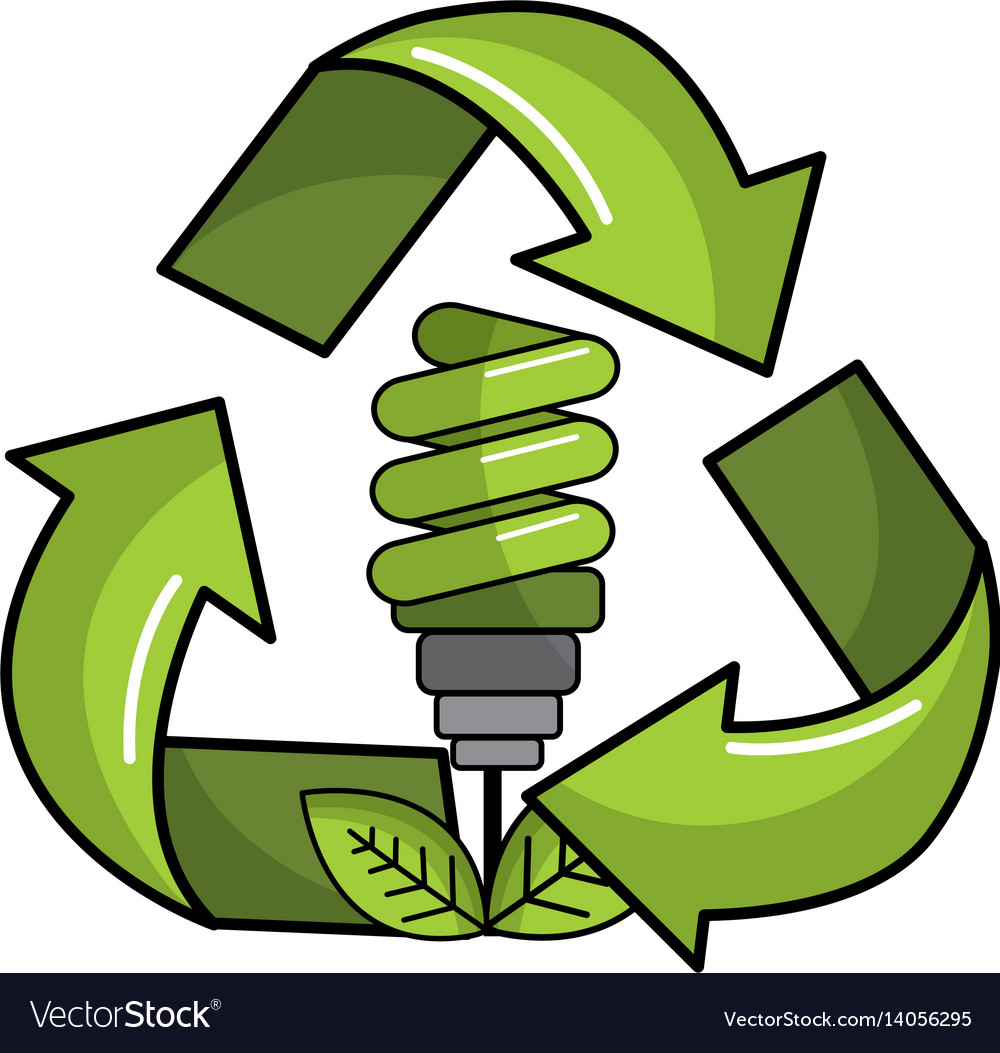Green save bulb with leaves inside of recycling vector image