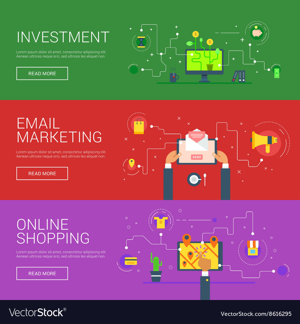 Investment Email Marketing Online Shopping Flat vector image