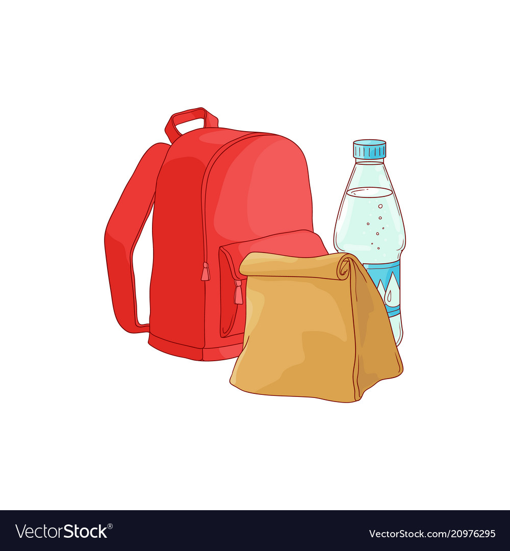 School backpack with paper lunch bag and bottle of