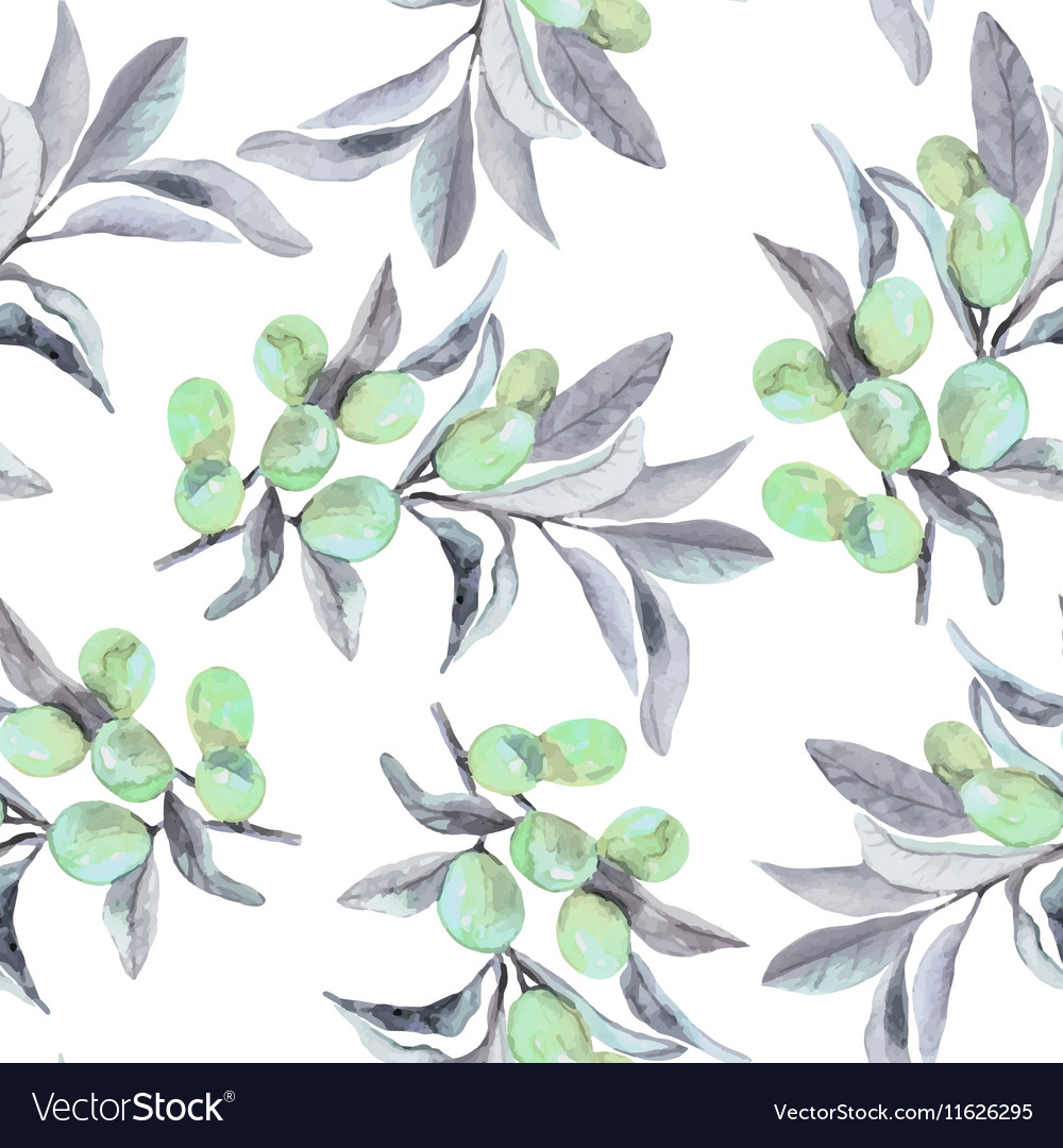 Seamless pattern of olive branch in watercolor
