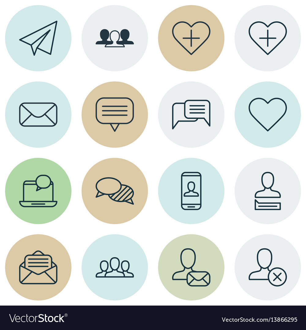 Set of 16 social network icons includes text