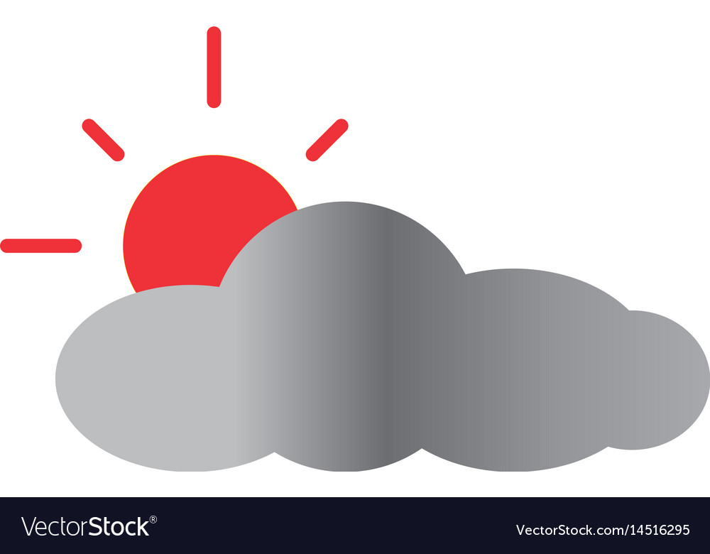 Sun and cloud icon on white background sun and