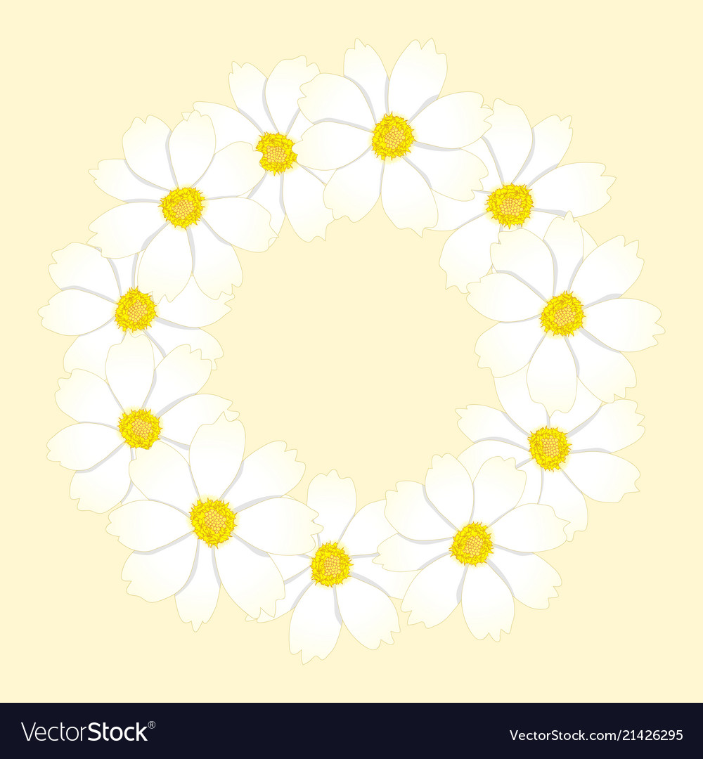 White cosmos flower wreath royalty free vector image white cosmos flower wreath vector image mightylinksfo