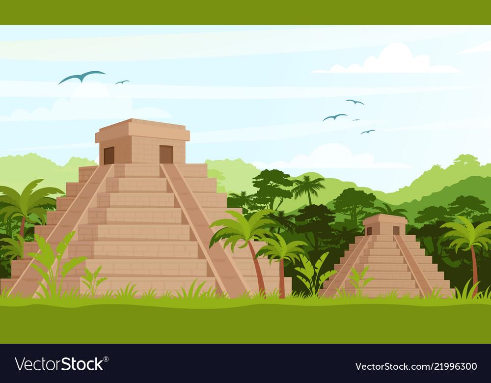 Ancient mayan pyramids in