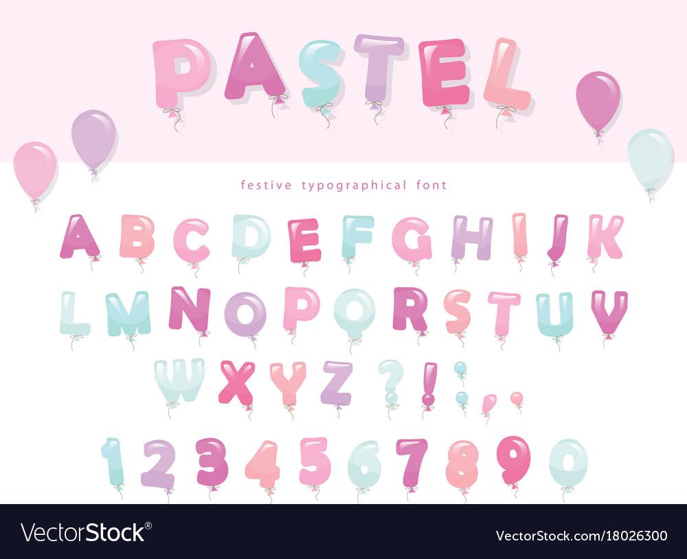 dce1d5ca8e0 Balloon font design in pastel colors cute abc Vector Image