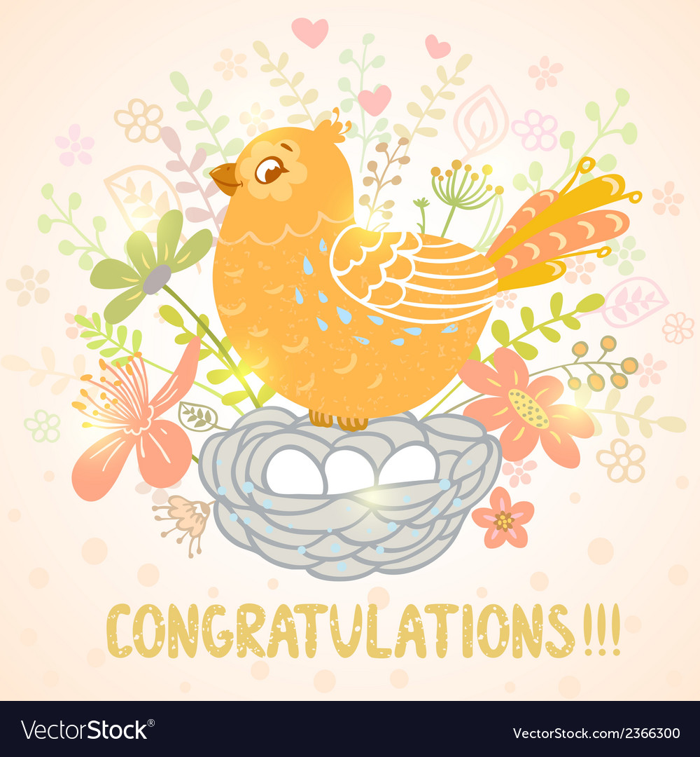 Bird and Nest vector image