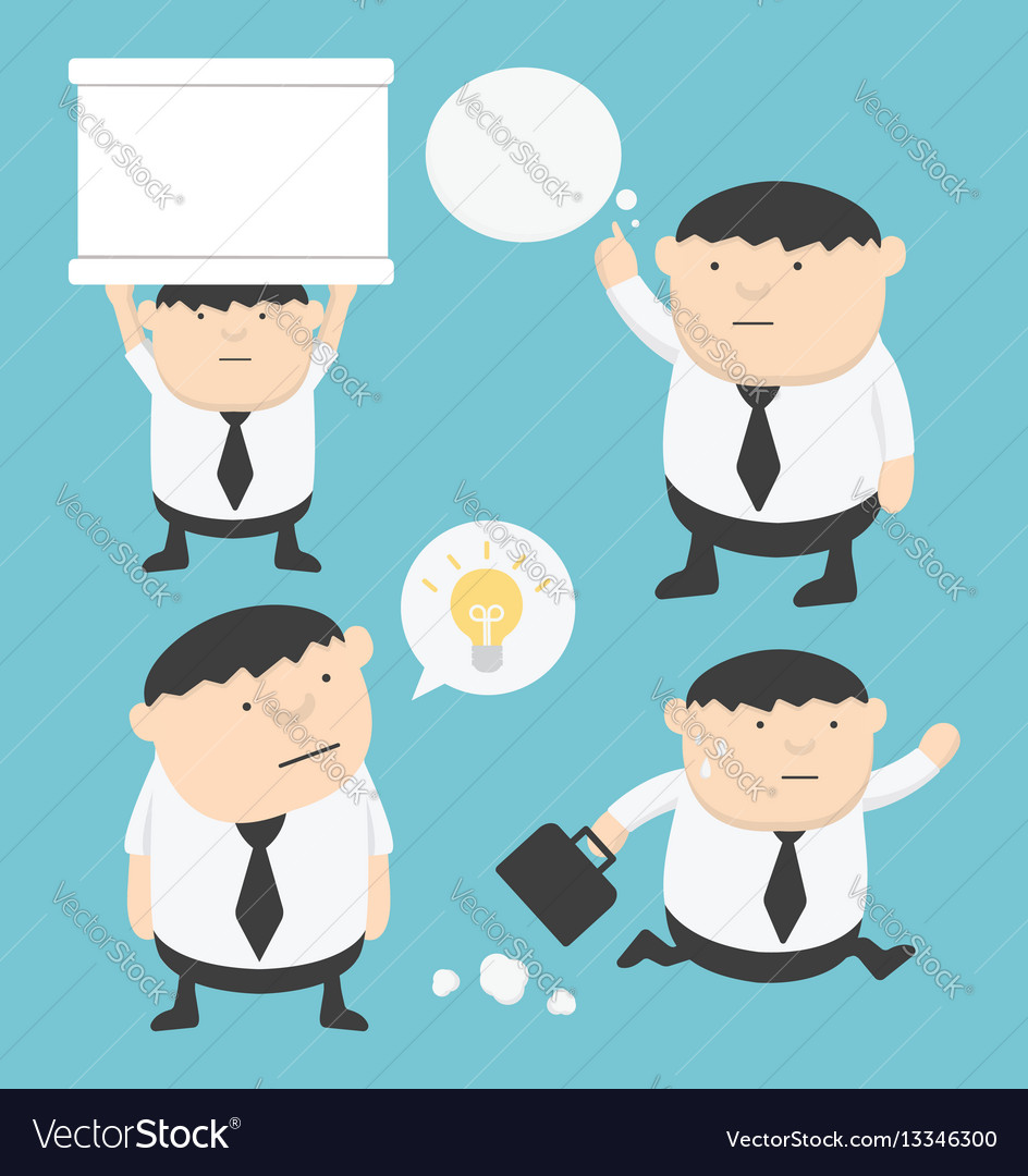 Business fat cartoon set holding signs think