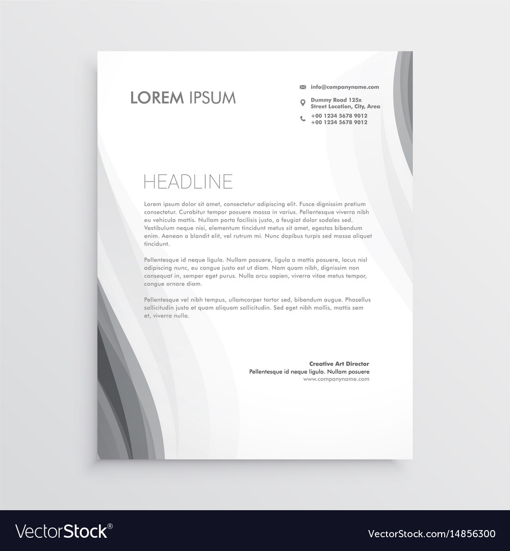 Elegant gray wave letterhead abstract design