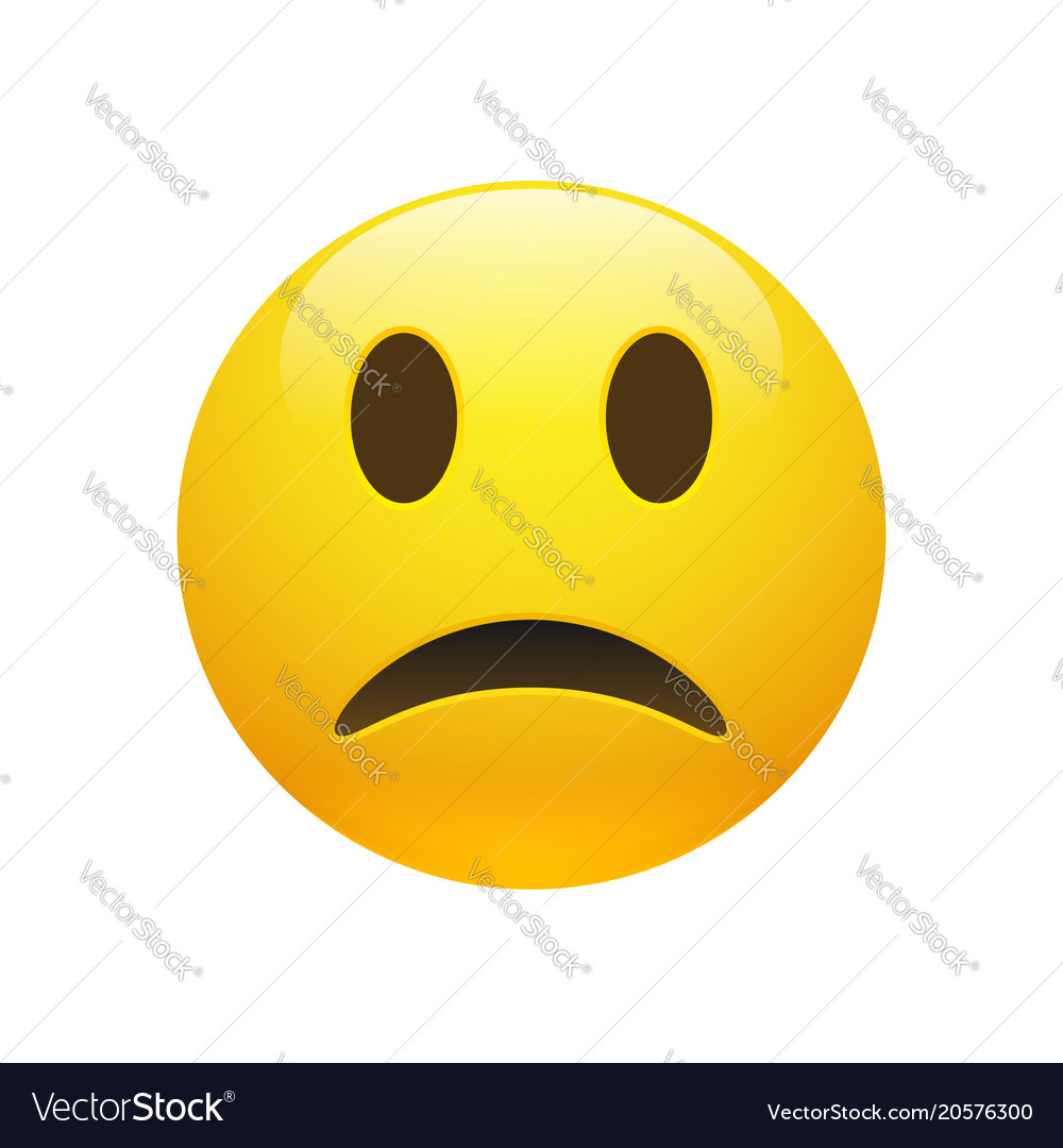 Emoji yellow sad face vector image