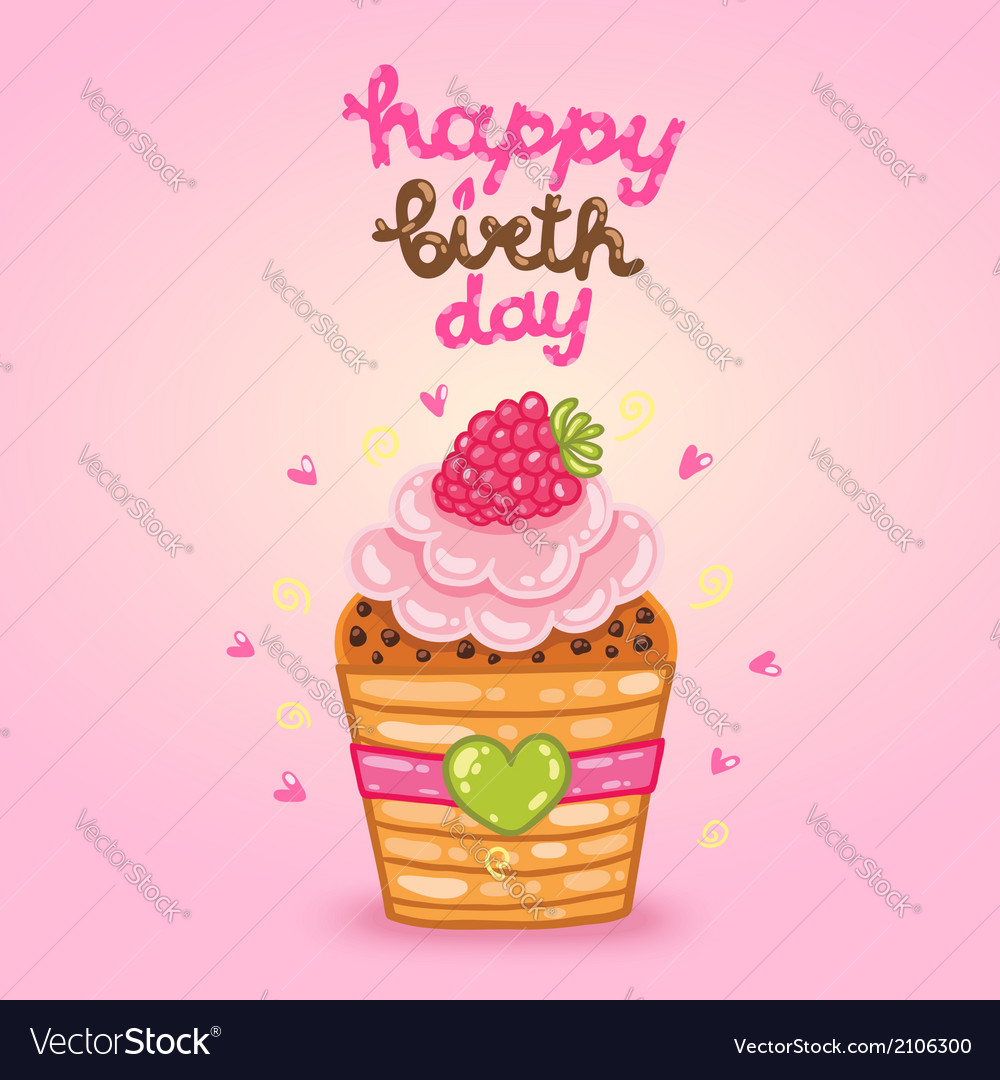 Happy Birthday Card With Raspberry Cupcake Vector Image