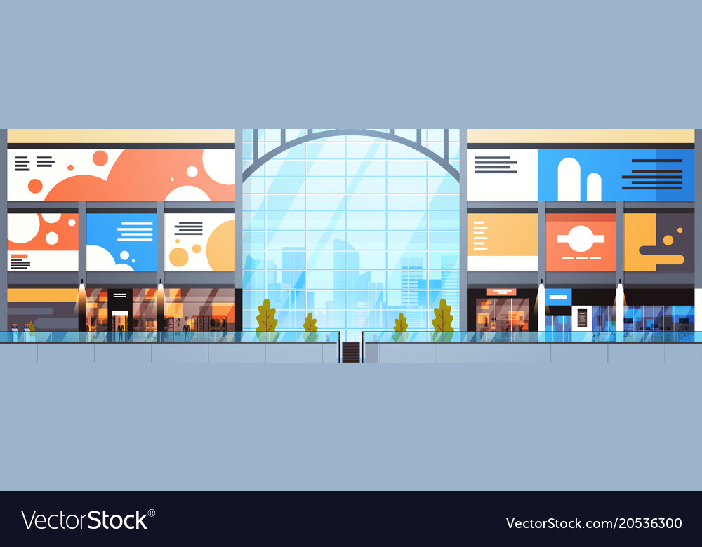 Modern Shopping Mall Interior Big Many Boutiques Vector Image