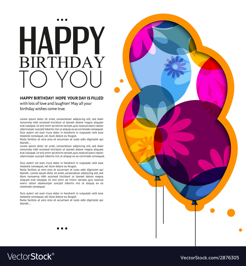 Birthday card with color balloons flowers and text birthday card with color balloons flowers and text vector image izmirmasajfo