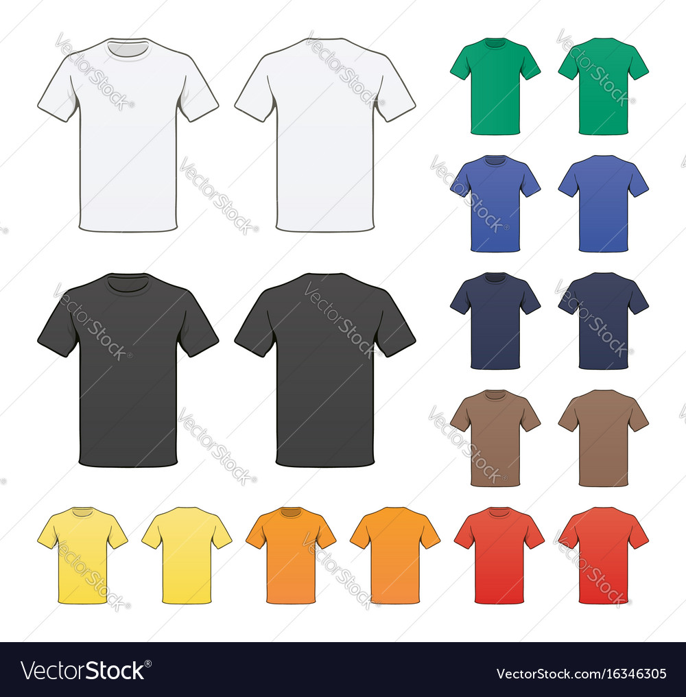 Blank colored t-shirt template Royalty Free Vector Image
