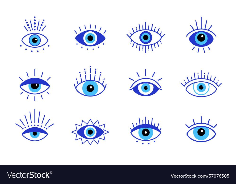 Blue evil eye set eyes symbol stock