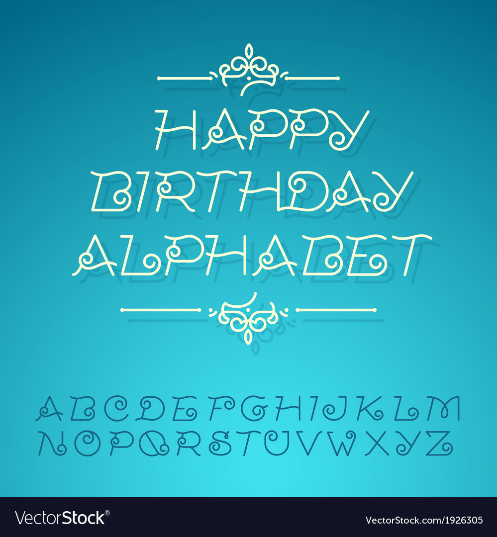 Hand-drawn alphabet letters happy birthday design