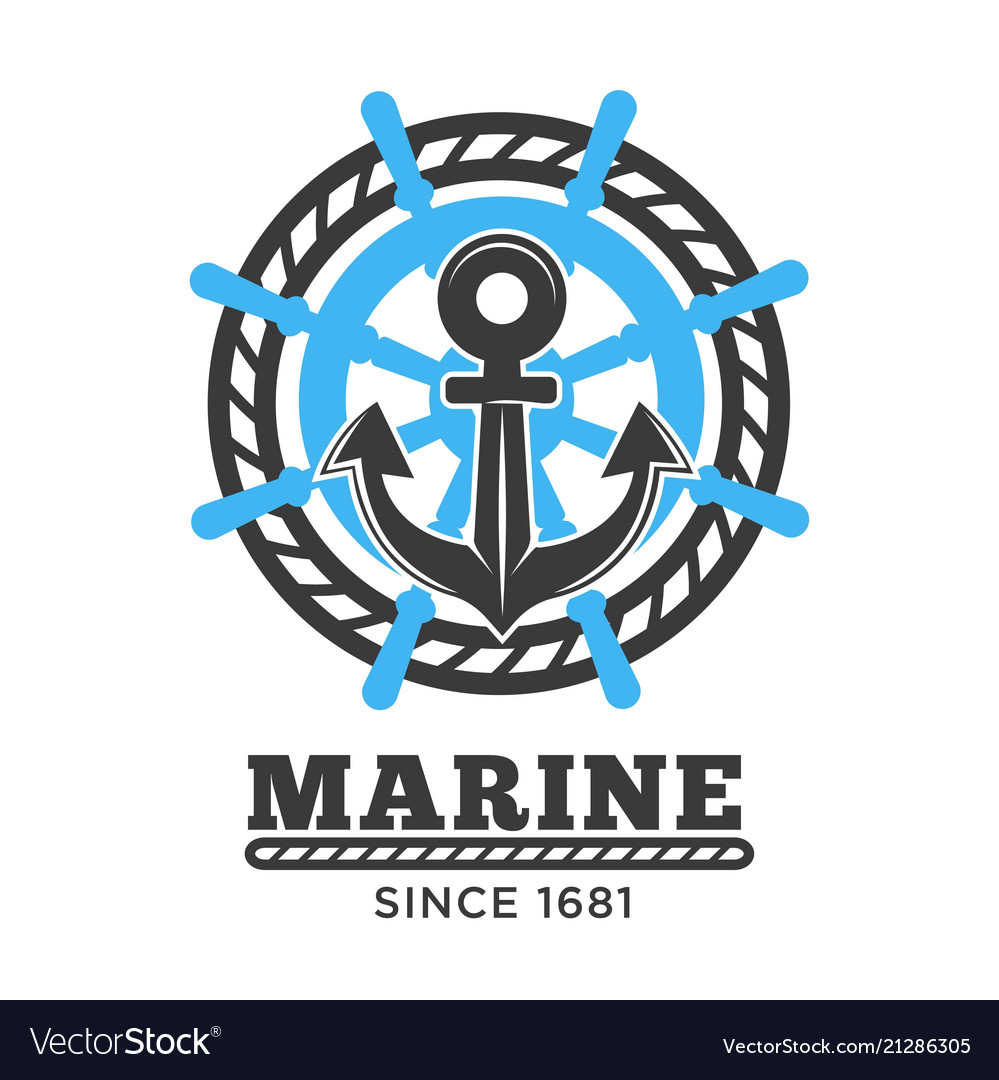 Marine poster with symbols and headline