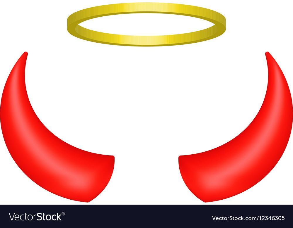 Cuernos De Diablo Png: Red Devil Horns And Angel Halo Royalty Free Vector Image