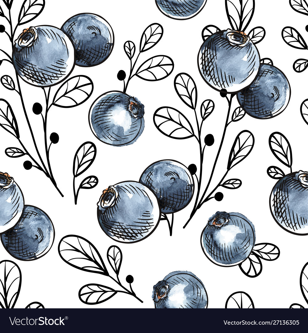 Seamless pattern with natural fresh blueberries vector