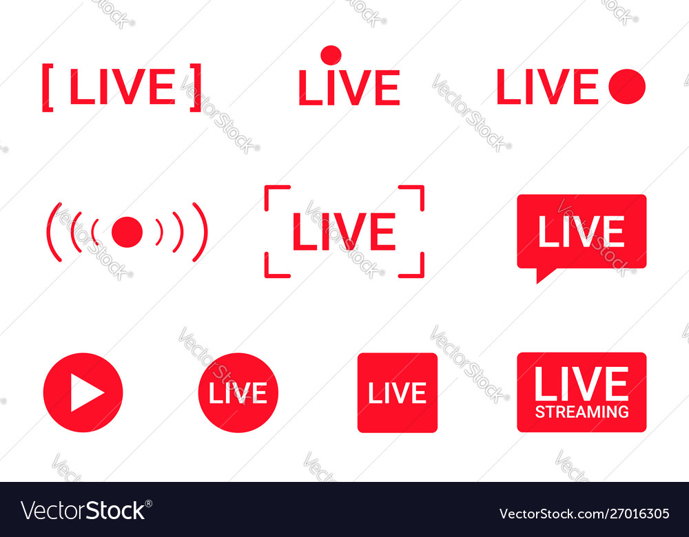 Set live streaming icons red symbols and