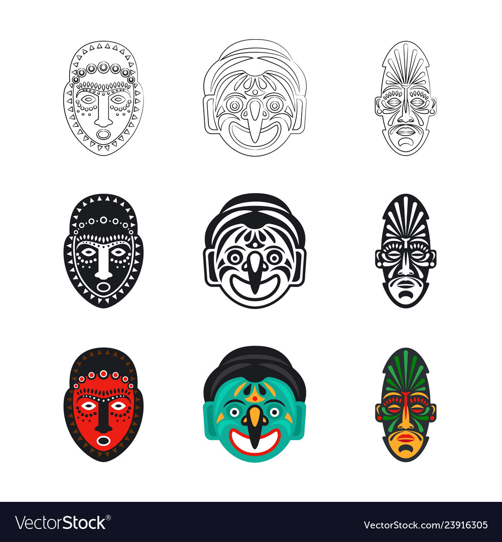 Set of tribal african mask icons isolated on white