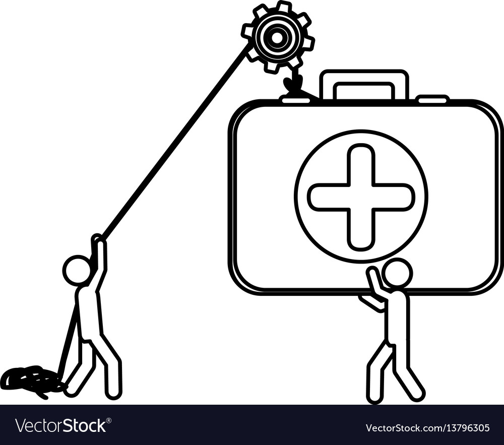 Silhouette workers with pulley holding first aid