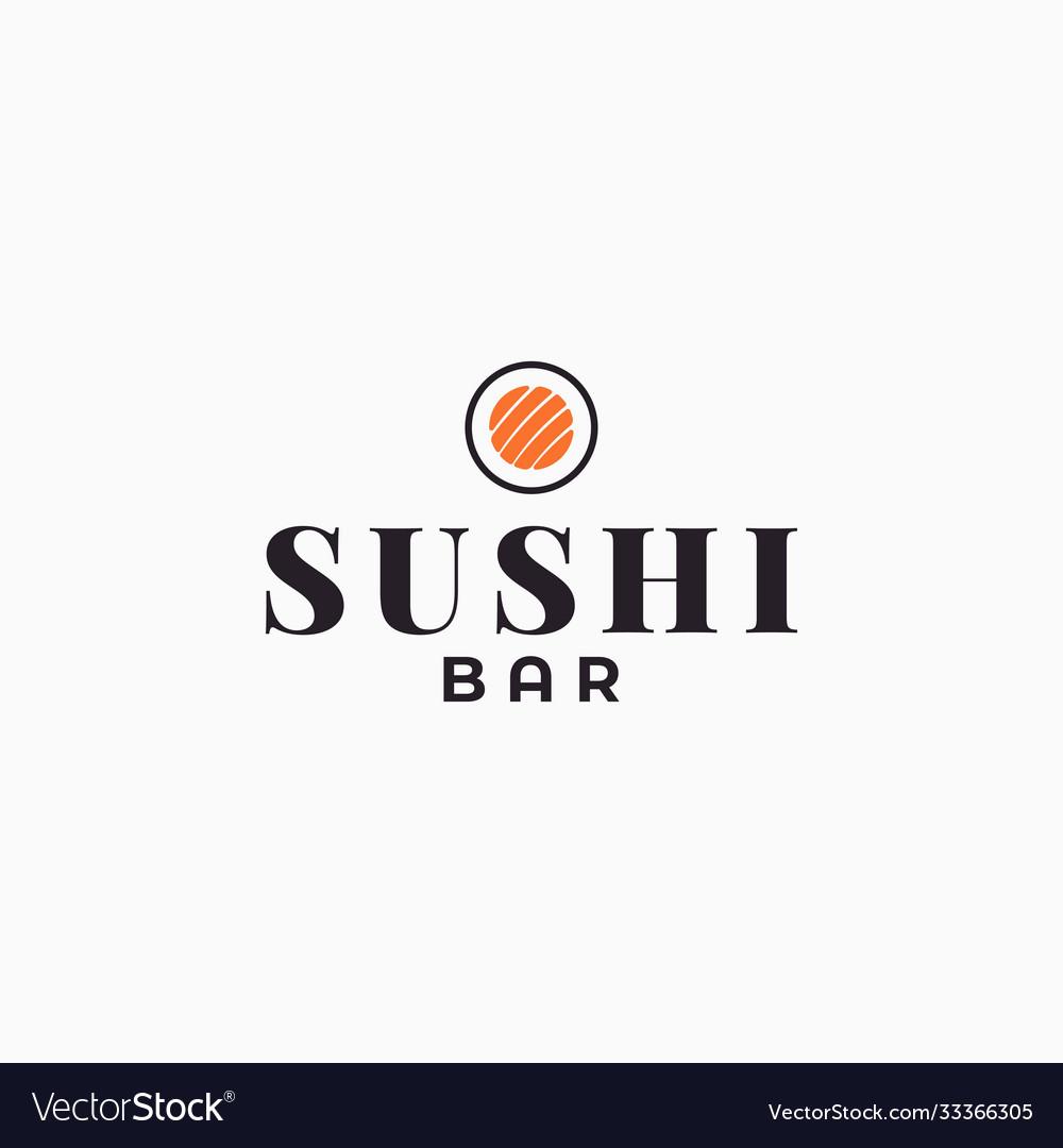 Sushi bar logo roll on white background