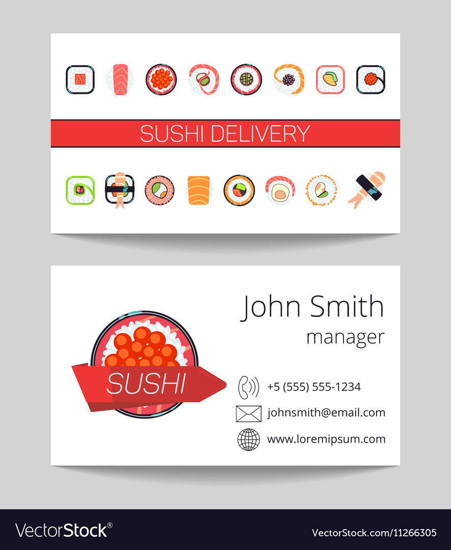 Sushi delivery business card template Royalty Free Vector