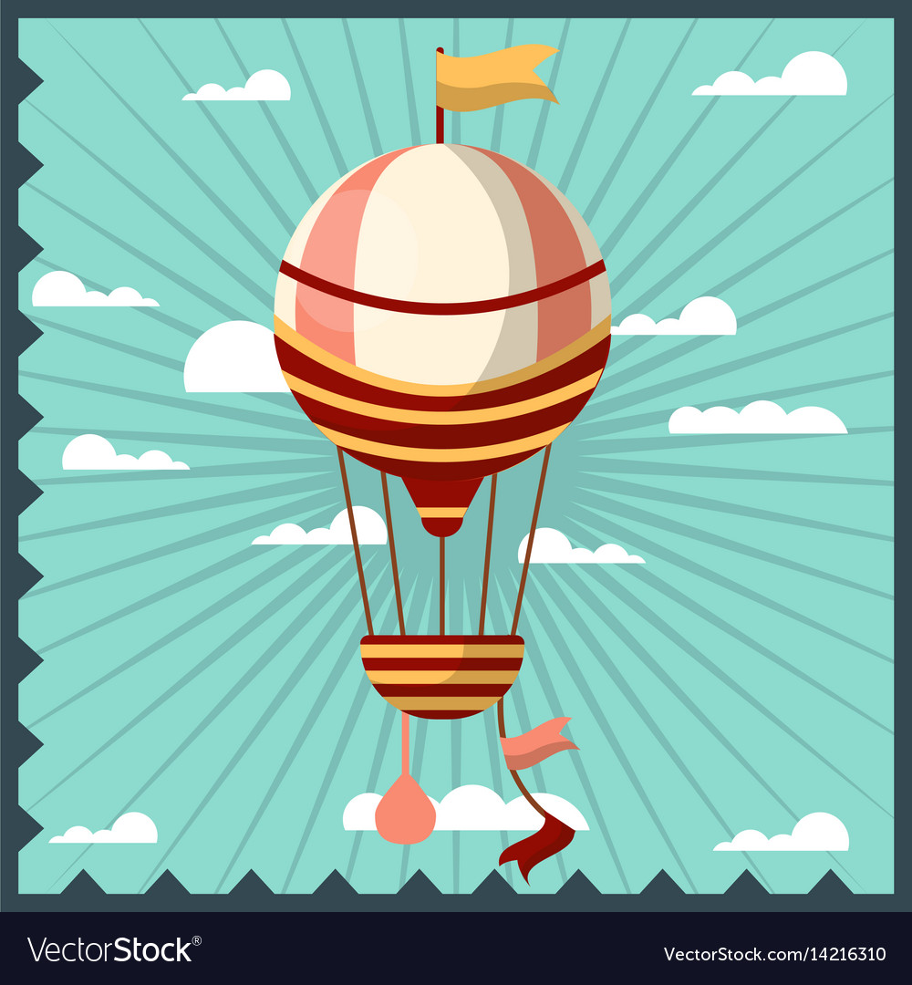 Airballoon isolated in sky colorful card with