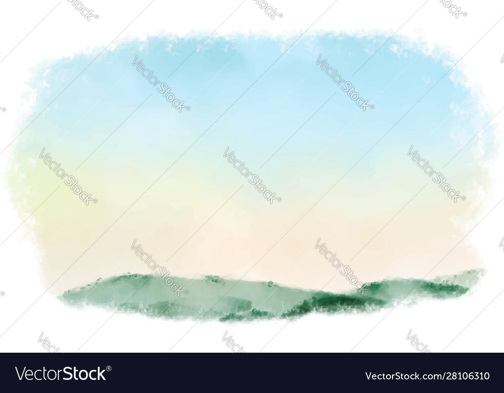 Beautiful sunrise mountain landscape watercolor