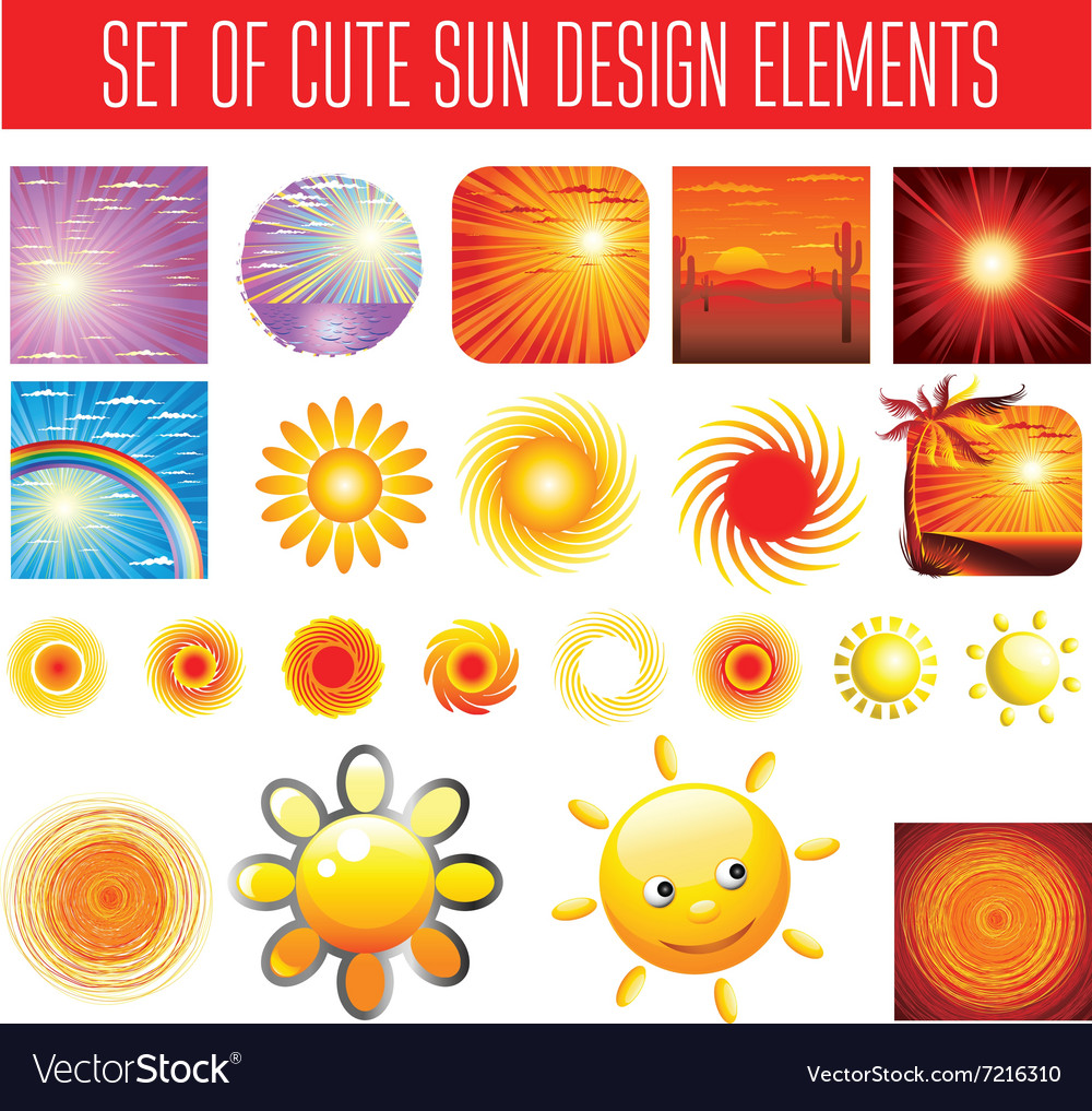BIG set shiny sun vector image